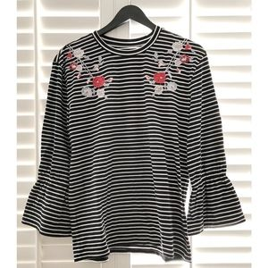 NWT LOFT Floral Embroidered Striped Peplum Sleeve